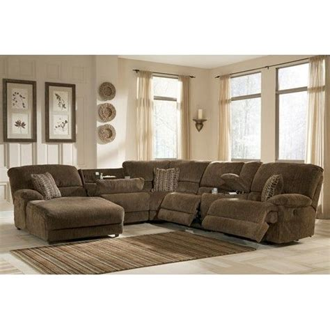 microfiber reclining sectional with storage signature design by pivot point truffle power