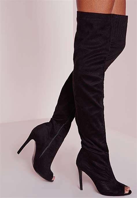 the knee peep toe boots missguided peace the knee peep toe boots black