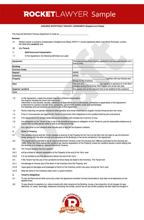 assured tenancy agreement template free assured tenancy