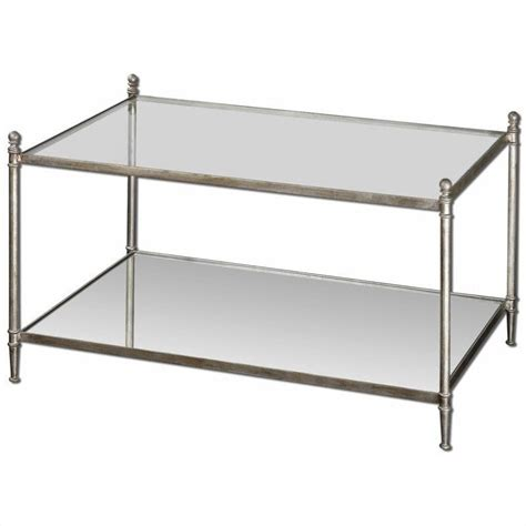 Mirrored Glass Coffee Table Uttermost Gannon Mirrored Glass Coffee Table In Antiqued Silver 24281