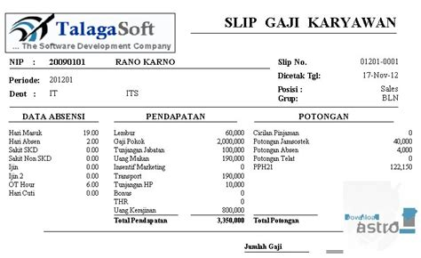 slip gaji karyawan harian slip gaji latest version 2017 free download