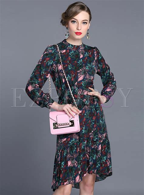 Vintage Asymmetric Dress vintage print asymmetric dress ezpopsy