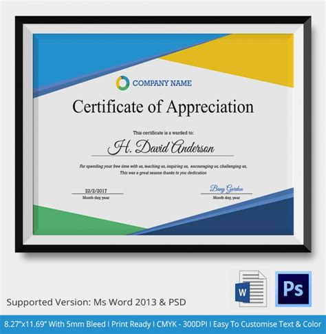employee appreciation certificate templates certificate of appreciation psd word designs design