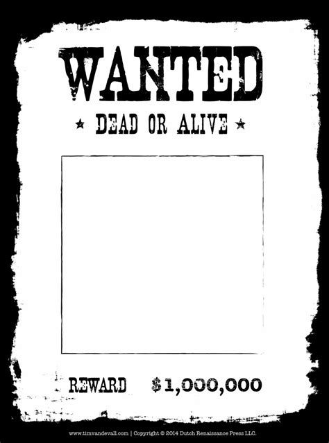 Tim Van De Vall Comics Printables For Kids Wanted Poster Template