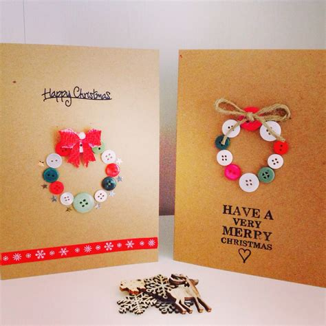 Handmade Cards With Buttons - pack of 5 handmade luxury cards button wreath