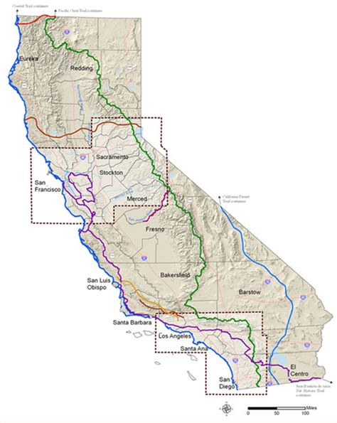 california trail map california recreational trails plan trail corridors