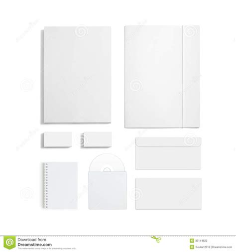 blank stationery set isolated on white stock photography