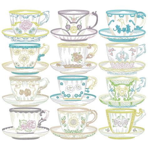 Vintage Story Bundle Sale Sz12 vintage teacups machine embroidery designs by sew swell