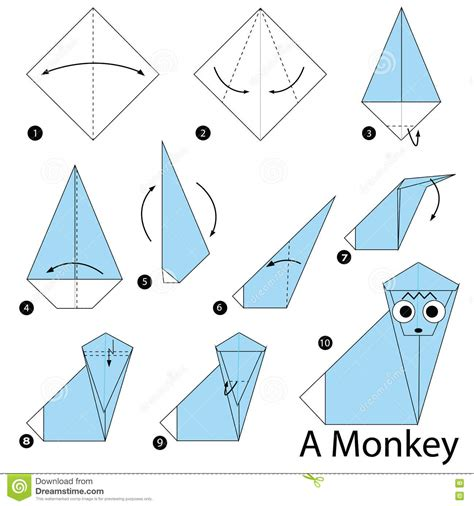 Steps To Make Paper - step by step how to make origami a monkey