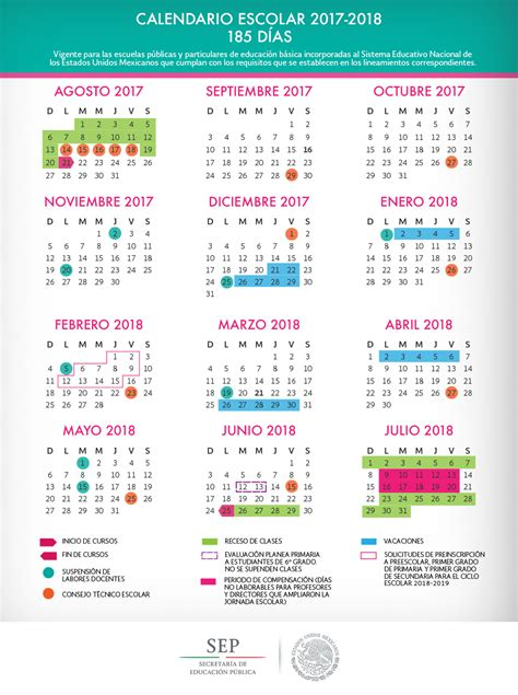 Calendario 2018 Mexico Sep Calendario Escolar Oficial Sep 2017 2018