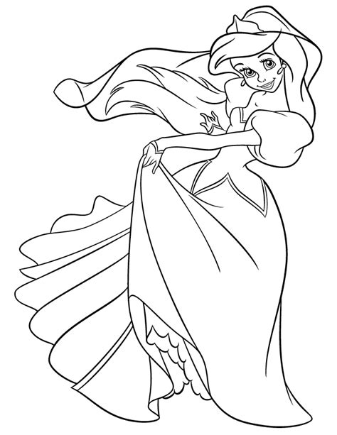 Princess Ariel In Pretty Dress Coloring Page H M Princess Ariel Color Pages Printable