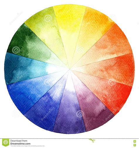 watercolor color wheel primary secondary and tertiary colors stock illustration image 72076889