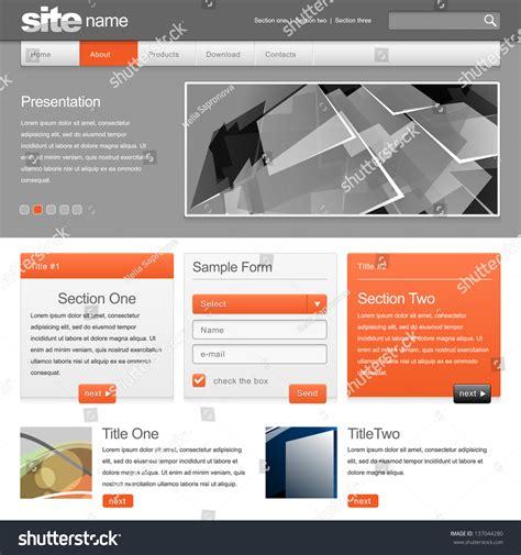Gray Website Template 960 Grid Vector Stock Vector 137044280 Shutterstock Grid Website Templates Free