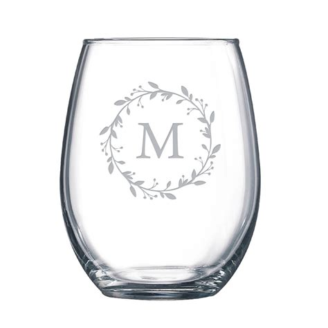 stemless wine glasses floral monogrammed stemless wine glass