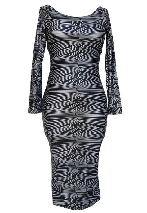 black geometric print cut out midi vintage dress wholesale