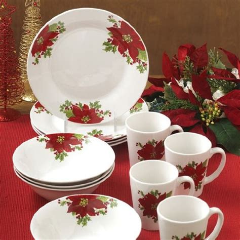 poinsettia dinnerware sets christmas wikii
