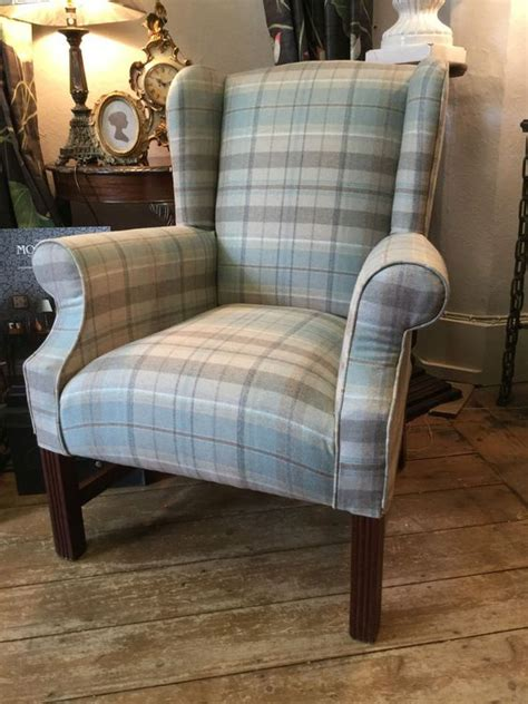 tartan wingback chair sandersons side wing back chair in finest wool check