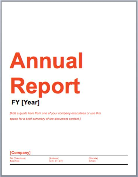 Annual Report Template Word Annual Report Template Microsoft Word Templates