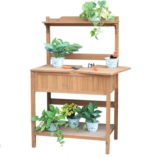 plant potting bench charles bentley multi functional wooden work potting bench