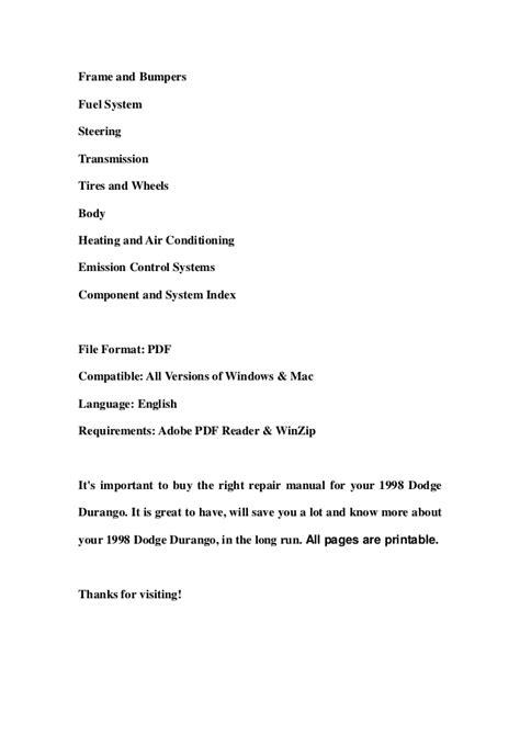 dodge durango repair manual 1998 2011 1998 dodge durango service repair workshop manual download