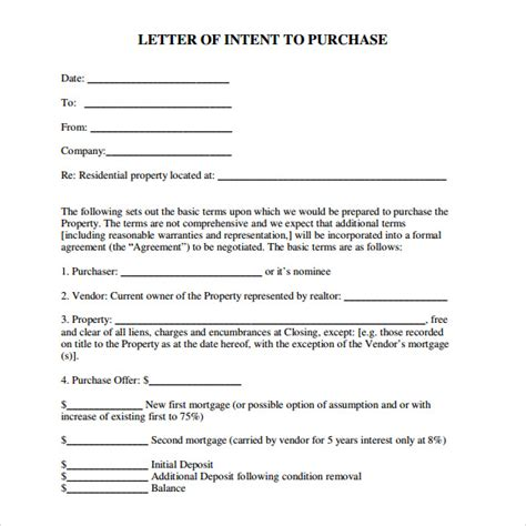 real estate letter of intent template letter of intent real estate 9 free documents