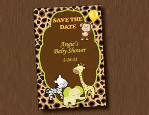 printable baby shower save the date invitation jungle animal boy neutral birthday