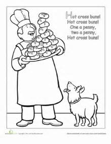 Nursery rhyme coloring hot cross buns coloring page education com