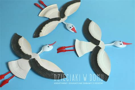 Paper Plate Seagull Craft - paper plate storks family crafts