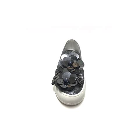 fiori acciaio slip on con applicazioni floreali paillettes acciaio