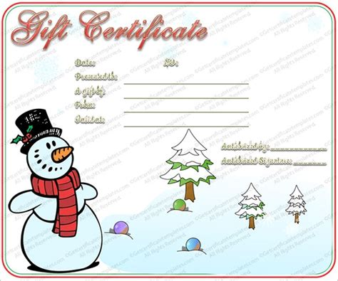 printable christmas certificates christmas gift certificate template free invitation template