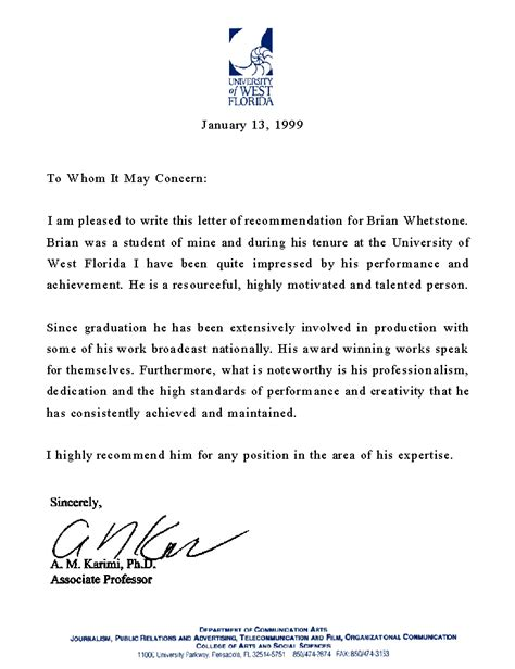 professional letter of recommendation template example of