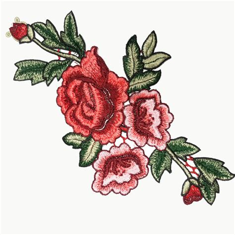Patch Flower by Embroidered Roses Flowers Sewing Appliques Beautiful