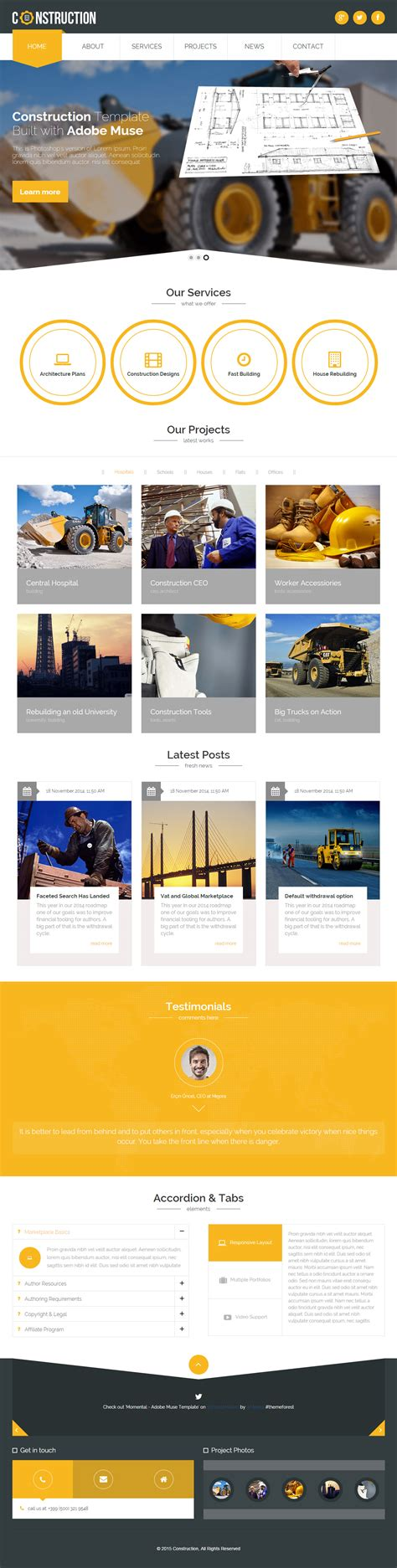 muse themes photo construction premium responsive industrial muse template