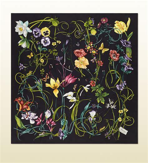flower pattern gucci lyst gucci flora infinity print silk foulard in black