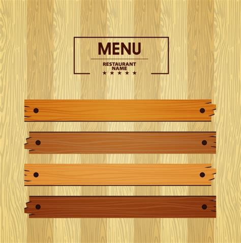menu design eps file menu template bright wooden pattern decoration free vector