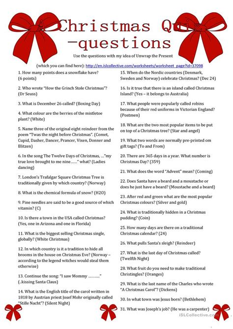 printable christmas lyrics quiz a christmas quiz questions worksheet free esl printable