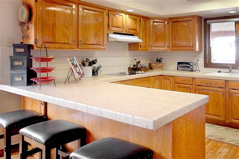 kitchen types of countertops with wood stool how to