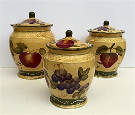 canister set 3pc canister tuscany wine grape fruits new