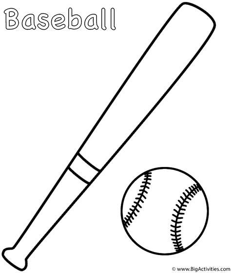 Coloring Page Of A Baseball Bat