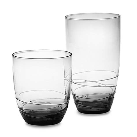 bed bath and beyond glassware mikasa 174 swirl smoke glass barware bed bath beyond