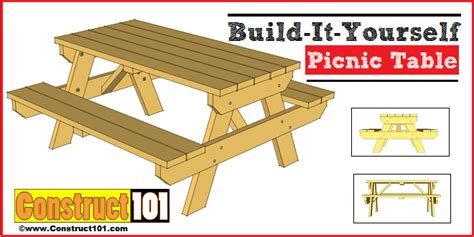 picnic table plans traditional picnic table plans construct101