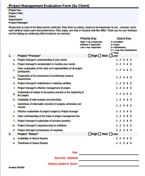 project feedback form template 9 sle project evaluation forms sle templates