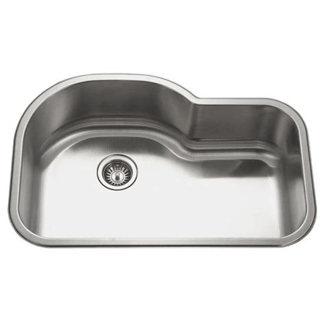 Undermount Single Bowl Kitchen Sink Houzer Medallion Undermount 32 In Offset Single Basin Kitchen Sink Mh 3200 The Home Depot