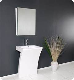 Modern Bathroom Cabinets With Sink Fresca Quadro White Pedestal Sink W Medicine Cabinet