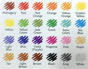 crayola color list which color what pack crayola colored pencils