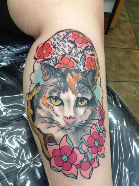 neo trad cat tattoo off the map tattoo