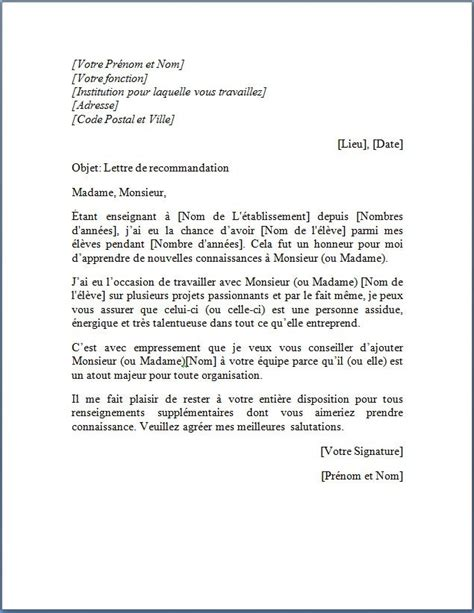 Exemple De Lettre De Recommandation Pour Une Thèse Lettre De Recommandation D Un Professeur Pour 233 Tudiant Lettre De Recommandation