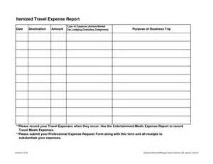 business travel expense report template itemized travel expense report template sle helloalive