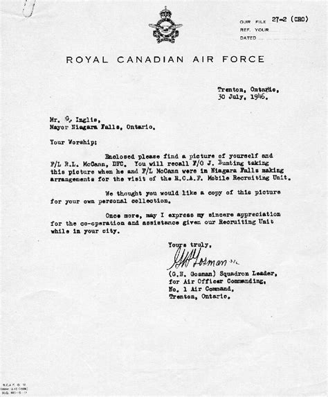 Niagara Acceptance Letter Letter From Royal Canadian Air To Mayor George Inglis Of Niagara Falls Details