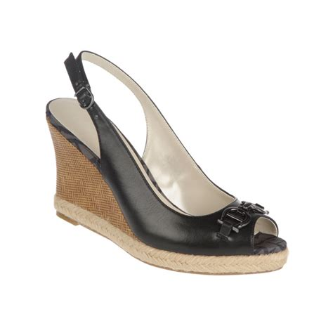 aigner sandals etienne aigner olexa wedge sandals in black lyst